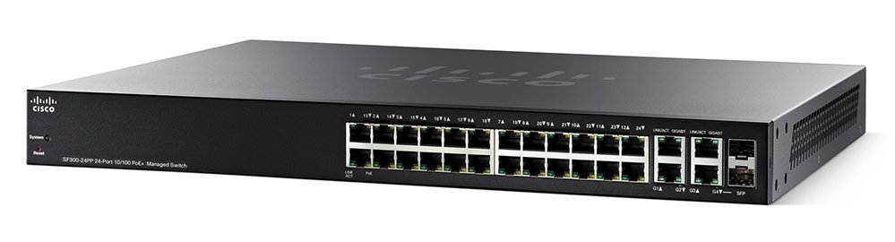 Коммутатор Cisco SF300-24PP-K9-EU 24x FE and 2xGE Combo PoE+ Managed Switch Купить
