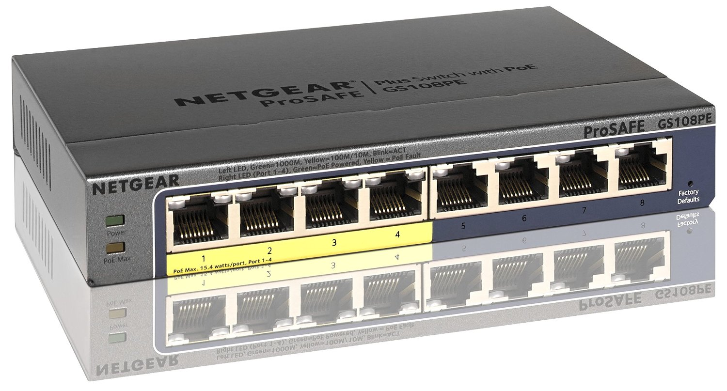 POE Коммутатор NETGEAR ProSAFE GS108PE-300NAS 8-Port Gigabit PoE Web Managed (Plus) Купить