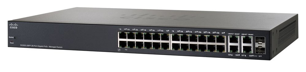 Коммутатор CISCO SG300-28PP-K9-EU 26x GE (and 2xGE Combo) PoE+ Managed Switch (24 PoE+ Ports, bu